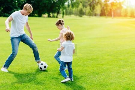 Photo for Young father with cute little children playing soccer on green grass in park - Royalty Free Image