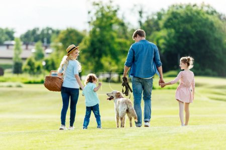 Photo for Back view of happy young family with pet walking on green meadow at park - Royalty Free Image