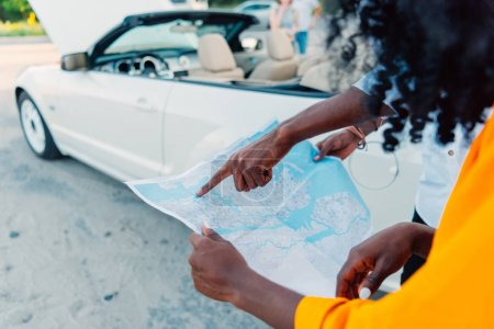 African american couple choosing destination