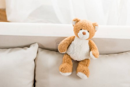 Photo for Close up view of teddy bear toy on sofa - Royalty Free Image