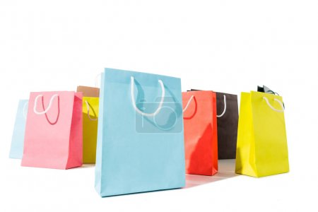 Photo for Close-up view of colorful shopping bags isolated on white - Royalty Free Image