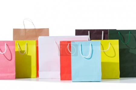 Photo for Group of colorful shopping bags isolated on white - Royalty Free Image