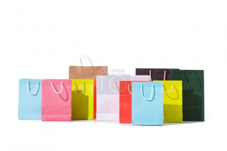 Photo for Various colorful shopping bags isolated on white - Royalty Free Image