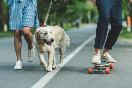 couple riding on board with dog
