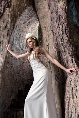 bride in flower wreath