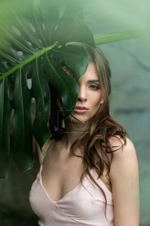 Photo for Attractive sensual woman posing with monstera palm leaf and looking at camera - Royalty Free Image