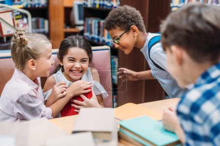 funny kids in library