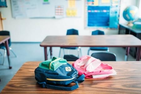 Backpacks laying on desk