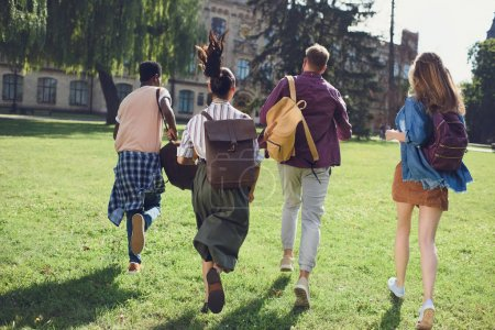 students running to college