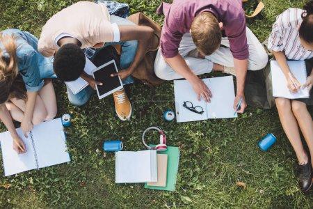 Photo pour Vue aérienne de jeunes étudiants multiethniques et tablette numérique tout en étant assis ensemble sur l'herbe - image libre de droit