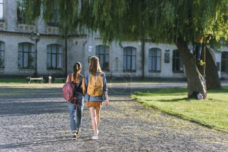 Girls walking in university park