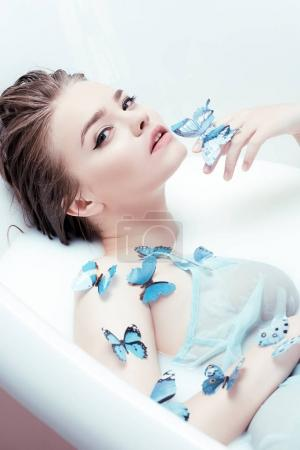 sensual woman with butterflies
