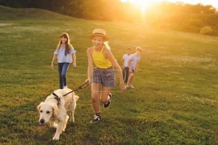 Photo pour Joyeux adolescents multiethniques marchant avec chien golden retriever dans le parc - image libre de droit