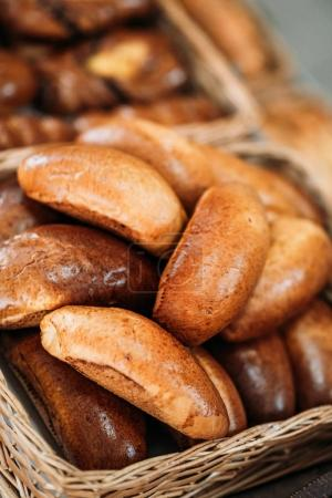 Photo for Close up view of freshly baked pastry in basket - Royalty Free Image