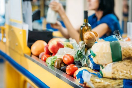 food at cash point in supermarket
