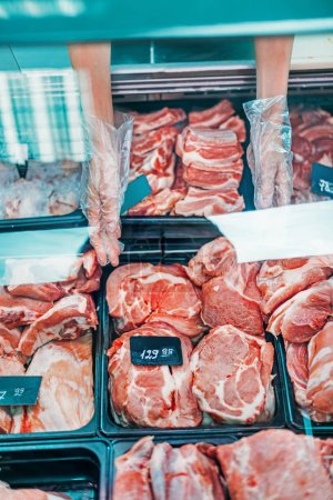Fresh raw meat in supermarket