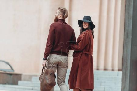 Couple walking outdoors