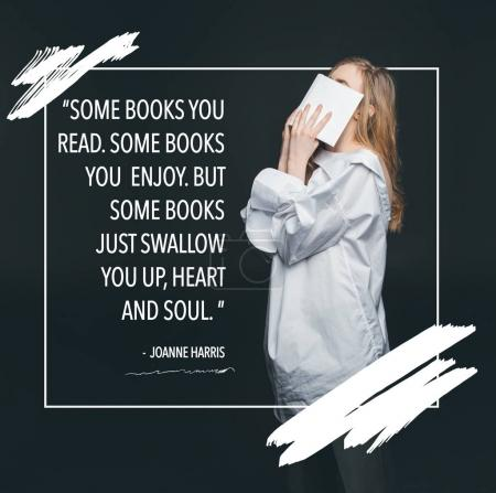 Photo for Cute blonde fashion girl hiding face by book, standing in frame with quote - Royalty Free Image