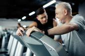 senior sportsman on treadmill