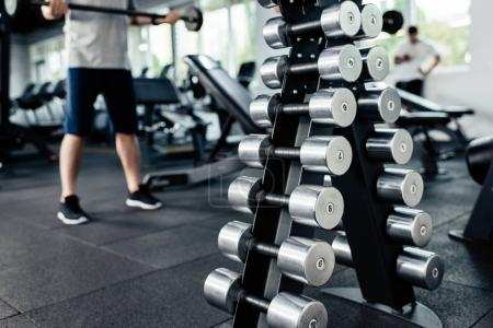 Dumbbells in sport center