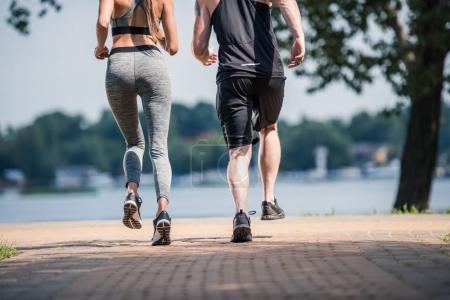 Photo pour Vue partielle du couple sportif jogging ensemble dans le parc - image libre de droit