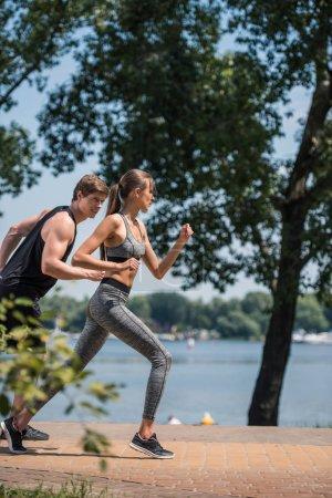 sportive couple jogging in park