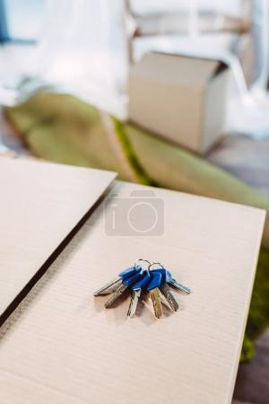 Keys on cardboard box