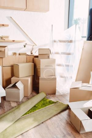 cardboard boxes in new house