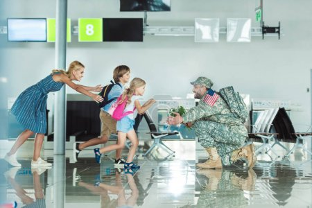 family meeting father in military uniform