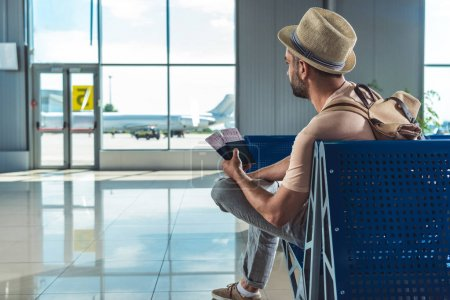 Traveler with passports and tickets