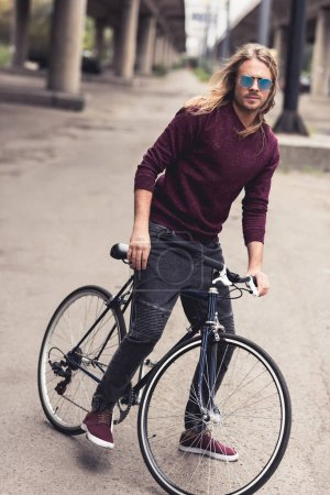Photo for Handsome stylish man with vintage bicycle - Royalty Free Image