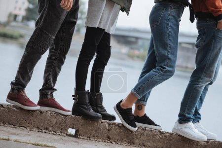 Photo for Cropped shot of group of people standing on riverside - Royalty Free Image