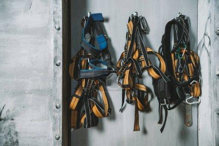 Climbing wall harnesses