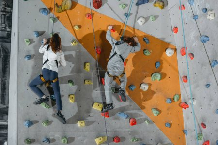 Photo for Full-length shot of two little kids in harnesses climbing a wall with grips at gym - Royalty Free Image