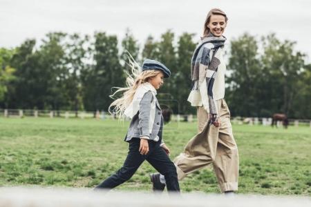 family walking at countryside