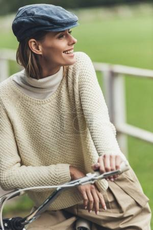 attractive woman on bicycle
