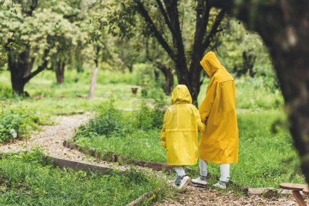 Family in raincoats at countryside