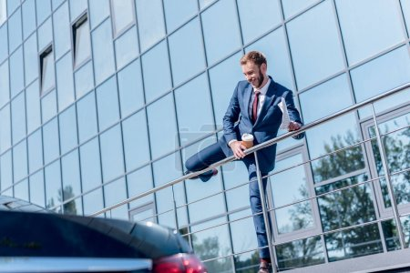 Businessman at office building