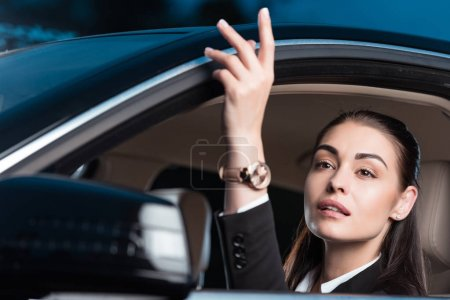 woman calling drive-through employee