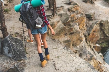 Photo pour Vue arrière du jeune femme randonnée dans les montagnes Rocheuses avec son petit ami - image libre de droit