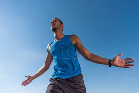 Excited sportsman yelling