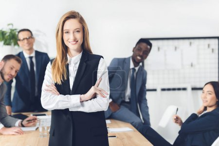 Young businesswoman in conference hall