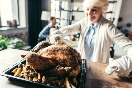 woman with delicious turkey