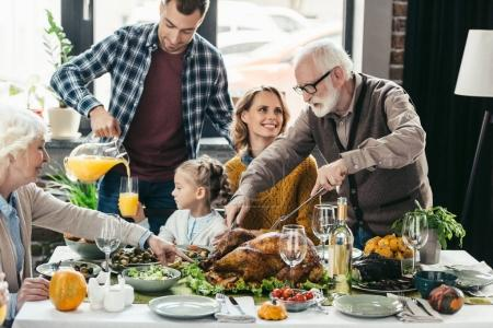 Family celebrating thanksgiving day