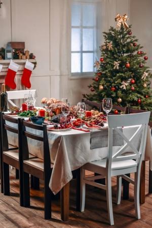served table for christmas dinner