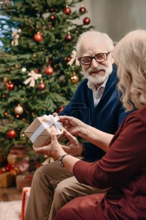 Photo pour Heureux senior homme présentant cadeau de Noël à la femme devant le magnifique arbre de Noël - image libre de droit