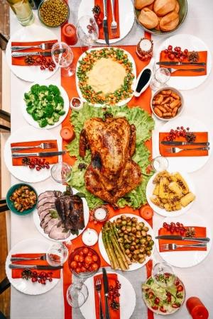 Photo for Top view of served table with delicious dishes for christmas dinner - Royalty Free Image