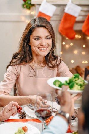 young woman on christmas dinner