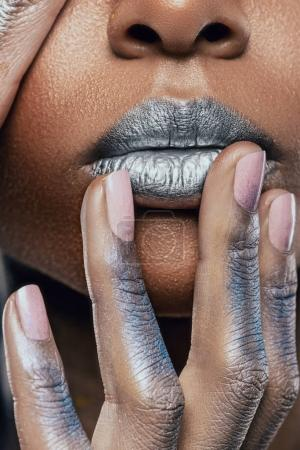 Photo for Cropped up view of face of african american girl with silver makeup - Royalty Free Image