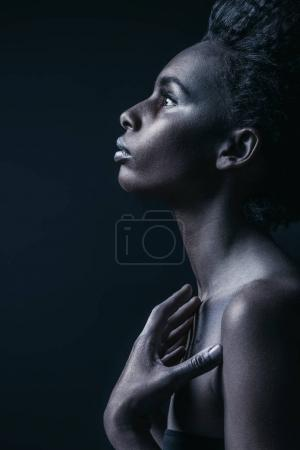 Photo for Monochrome photo of sensual attractive african american girl, isolated on black - Royalty Free Image